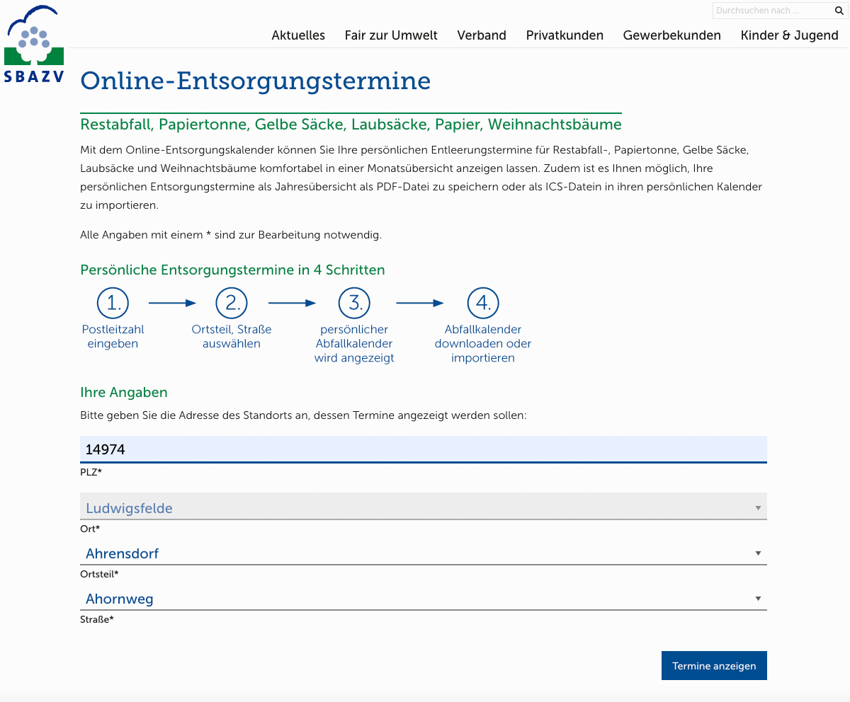 SBAZV Relaunch Website Service Entsorgungstermine