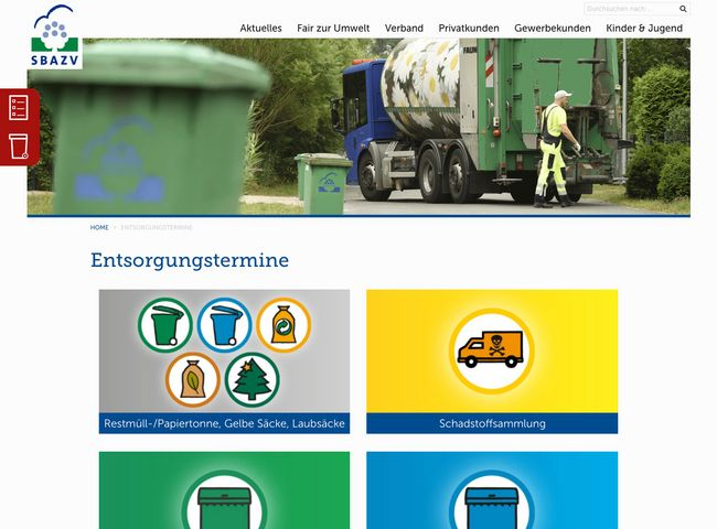 SBAZV Relaunch Website Entsorgungstermine