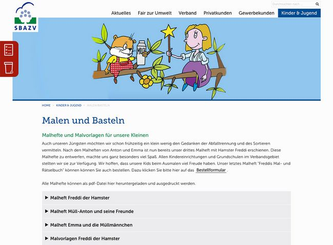 SBAZV Relaunch Website Kinderseite