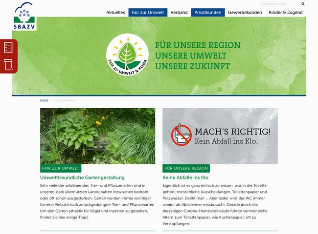 SBAZV Relaunch Website Fair zur Umwelt